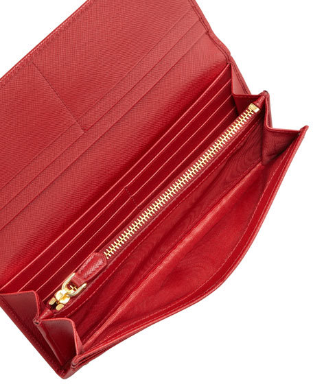Saffiano Triangle Continental Flap Wallet, Red (Fuoco)