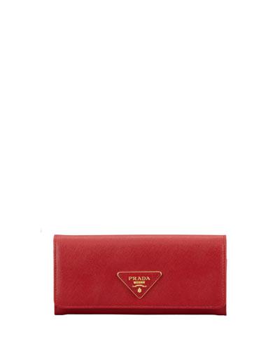 Prada Saffiano Triangle Continental Flap Wallet, Red (Fuoco)