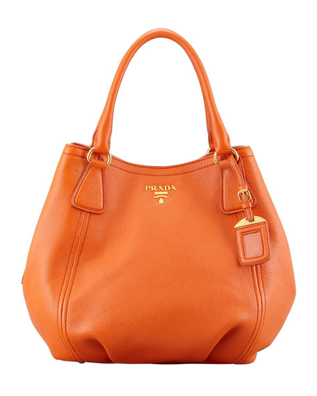Daino Medium Shoulder Tote Bag, Orange (Papaya)