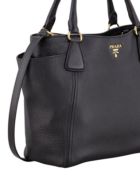Daino Side-Pocket Tote Bag, Black (Nero)