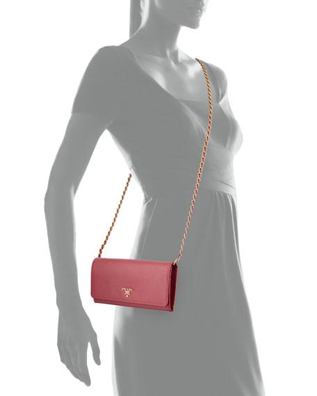 c279bbea6f15c0 Prada Saffiano Wallet on a Chain, Pink (Peonia)