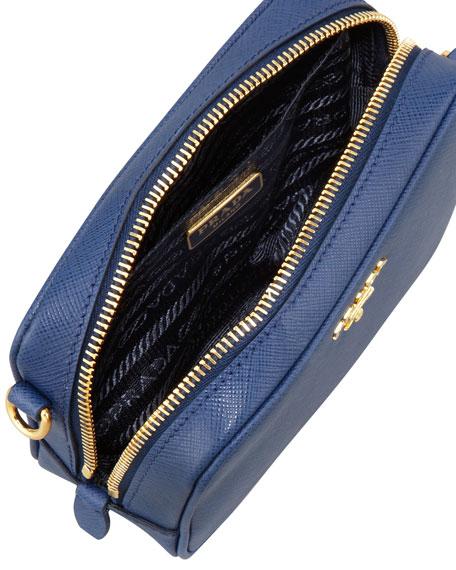 Saffiano Mini Zip Crossbody Bag, Blue (Bluette)