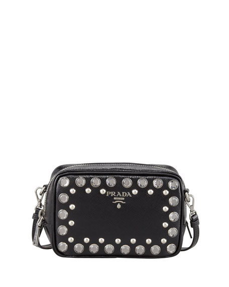 Saffiano Studded Mini Zip Crossbody Bag, Black (Nero)