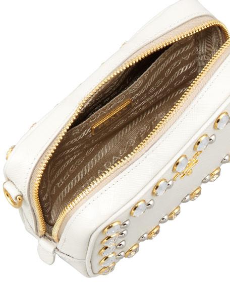 71a69b34902d52 Prada Saffiano Studded Mini Zip Crossbody Bag, White
