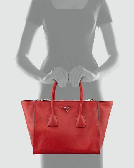 Prada Glace Calf Twin Pocket Tote Bag, Red (Fuoco)