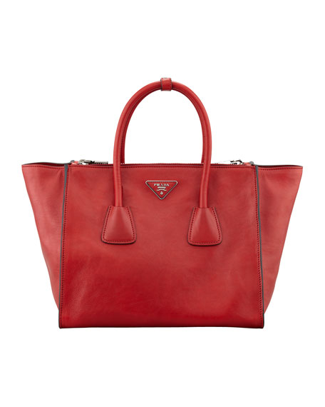 Glace Calf Twin Pocket Tote Bag, Red (Fuoco)