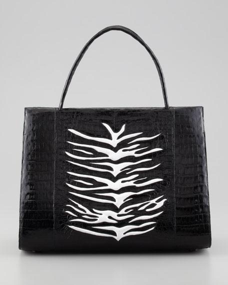 Zebra-Stripe A-Frame Crocodile Tote Bag, Black/White