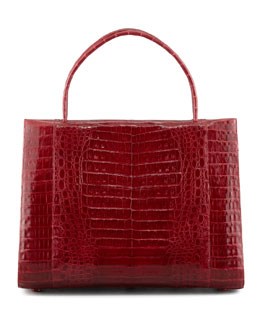 Nancy Gonzalez A-Frame Expandable Crocodile Tote Bag, Red