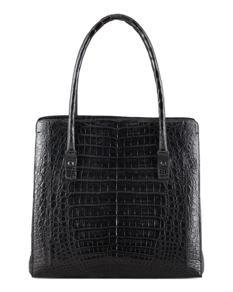 Crocodile Shoulder Tote Bag, Black