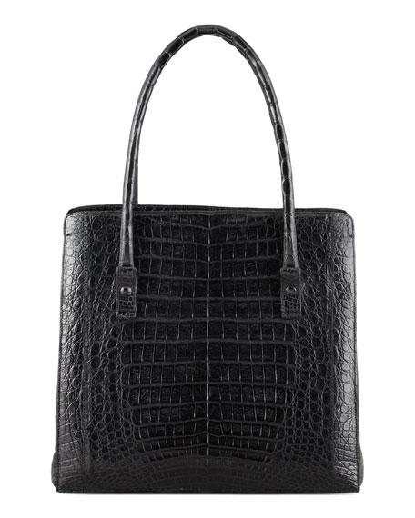 Crocodile Shoulder Tote Bag, Black