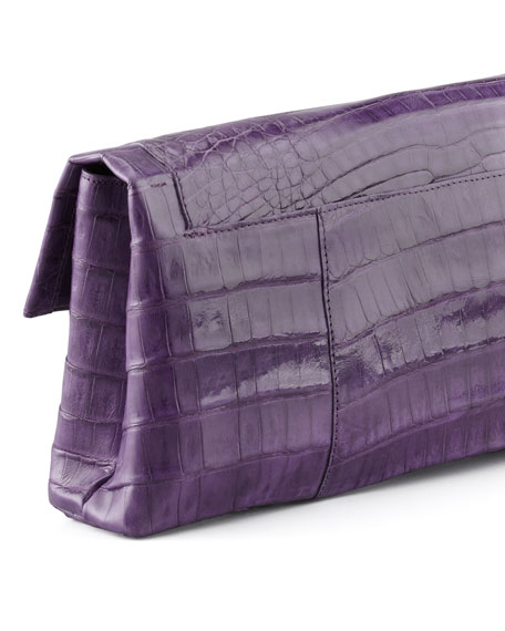 Crocodile Flap Clutch Bag, Purple