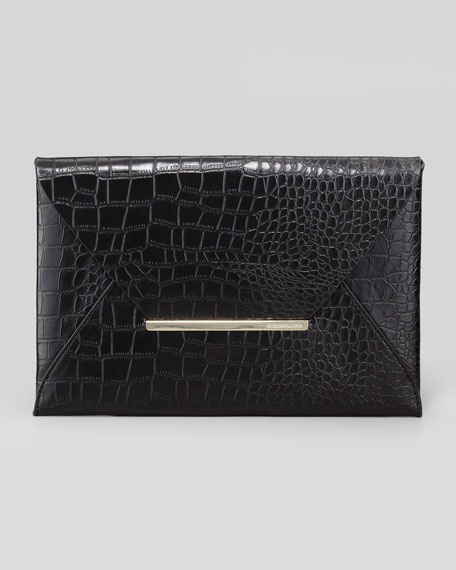 Crocodile-Embossed Envelope Clutch, Black