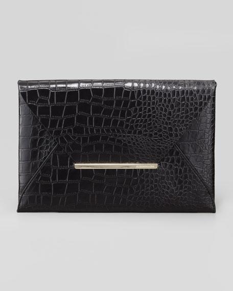 Crocodile-Embossed Envelope Clutch, Black