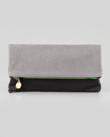 Supreme Two-Tone Fold-Over Clutch, Black/Cement