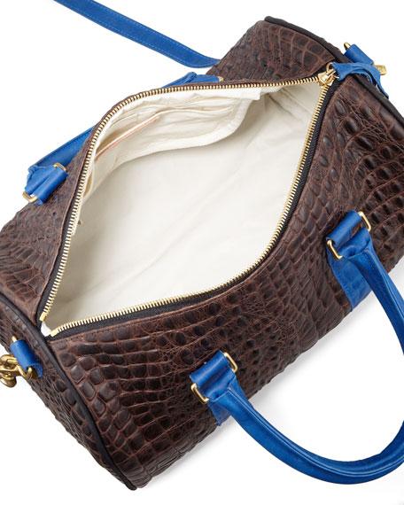 Supreme Petite Embossed Duffel Bag, Brown/Blue