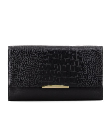 Adeline Embossed Clutch Bag, Black