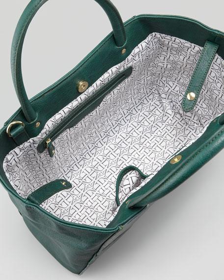Adeline Croc-Embossed Satchel Bag, Green
