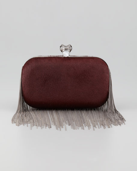 Jude Chain-Fringe Calf Hair Clutch Bag, Black
