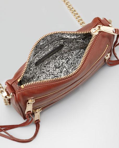 Five-Zip Mini Crossbody Bag, Mahogany