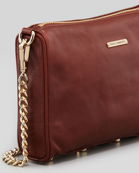 Five-Zip Mini Crossbody Bag, Mahogany