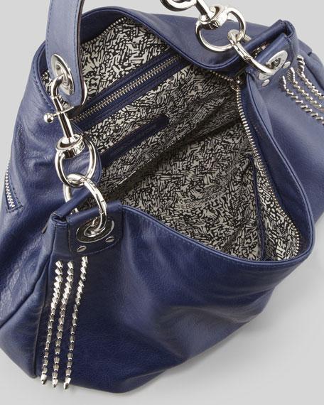 Luscious Mini Studded Hobo Bag, Sapphire