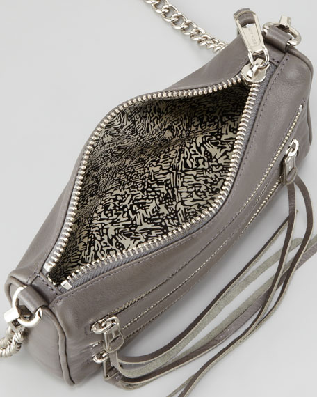 Mini 5-Zip Crossbody Bag, Gray