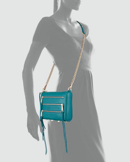 Five-Zip Mini Crossbody Bag, Azure