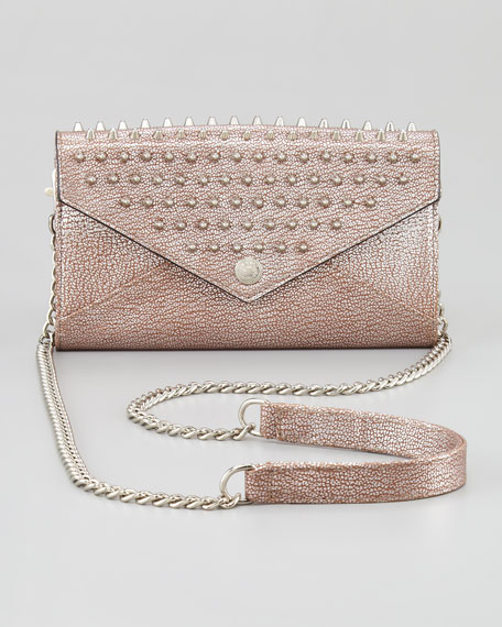 Studded Wallet-on-a-Chain Bag, Silver