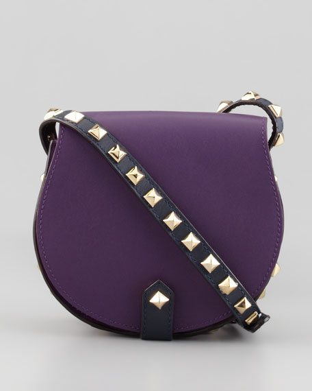 Skylar Bicolor Studded Mini Messenger Bag, Plum/Midnight