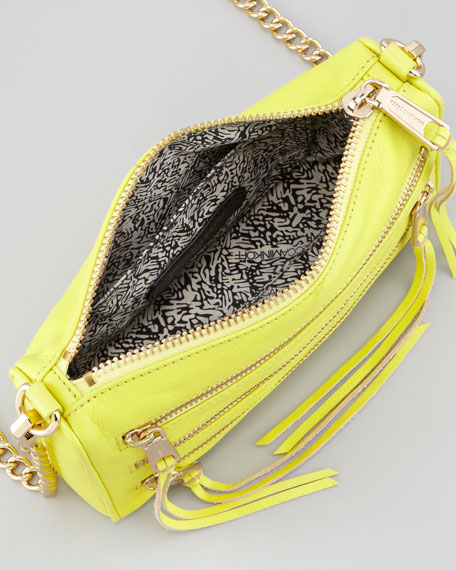 Mini 5-Zip Crossbody Bag, Chartreuse