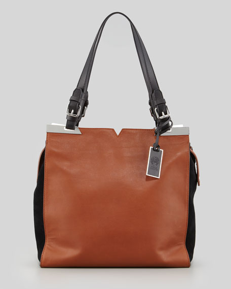 Nadia Two-Tone Leather Tote Bag, Whiskey/Black