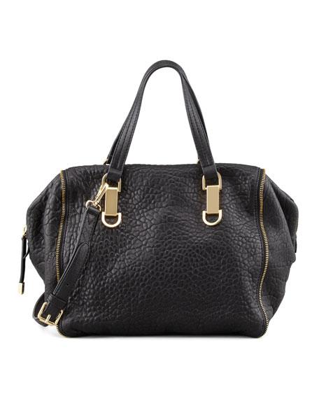 Riley Pebbled Leather Satchel, Black