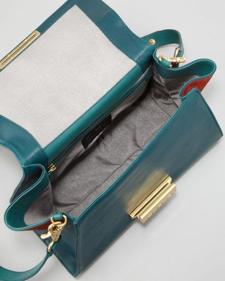 Eartha Colorblock Satchel Bag, Eclipse/Dusk/Horizon