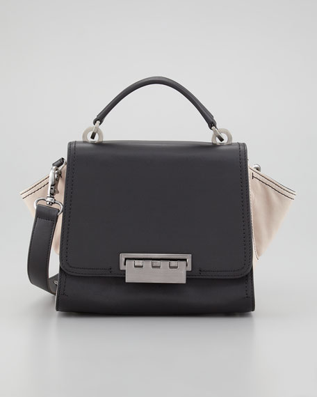 Eartha Small Colorblock Satchel Bag, Black/Luna