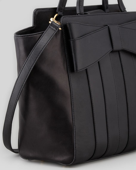 Shirley Bow Shoulder Tote Bag, Black