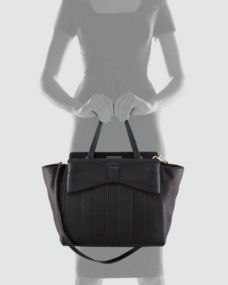 Shirley Bow Shoulder Tote Bag, Black