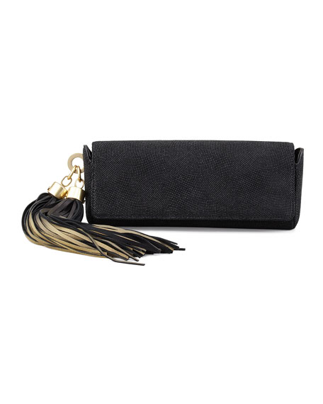 Claudette Textured Tassel Clutch, Black