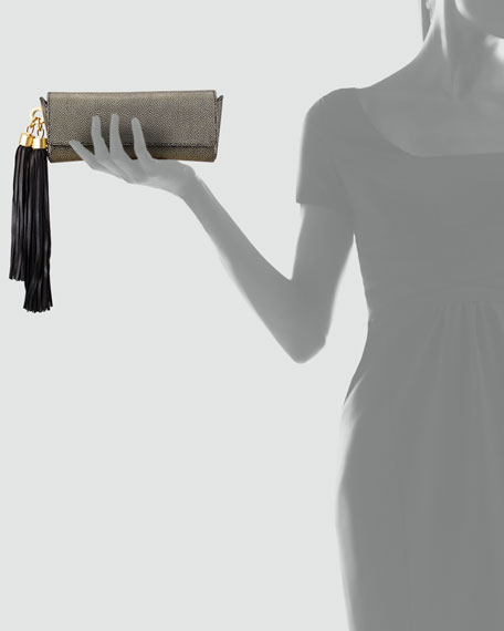 Claudette Textured Tassel Clutch, Gold/Black