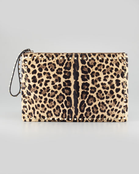 Rockstud Leopard-Print Calf Hair Clutch Bag, Brown
