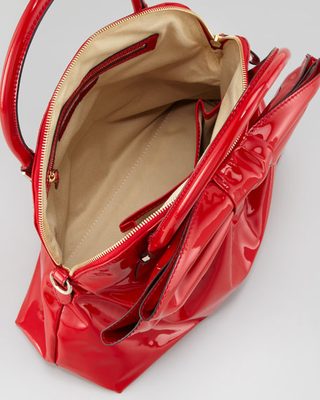 Lacca Dome Bow Bag, Red