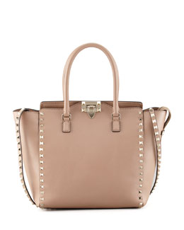 Valentino Rockstud Medium Shopper Tote, Tan