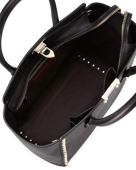 Rockstud Double-Handle Shoulder Tote Bag, Black