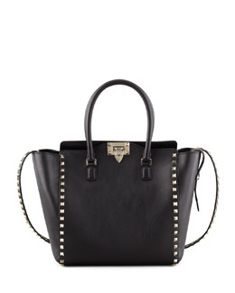 Valentino Rockstud Medium Shopper Tote, Black