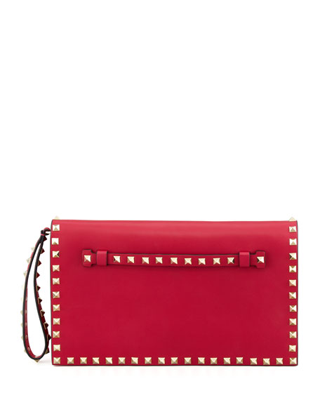 Rockstud All-Around Flap Wristlet Clutch Bag, Pink