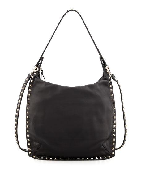 Rockstud All-Around Small Flat Hobo Bag, Black