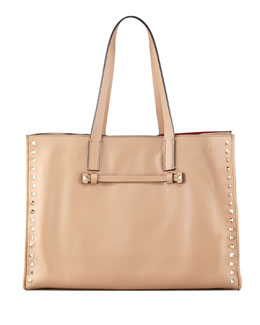 Valentino Rockstud Medium Shopping Tote Bag, Tan