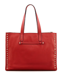 Valentino Rockstud Shopping Tote Bag, Red