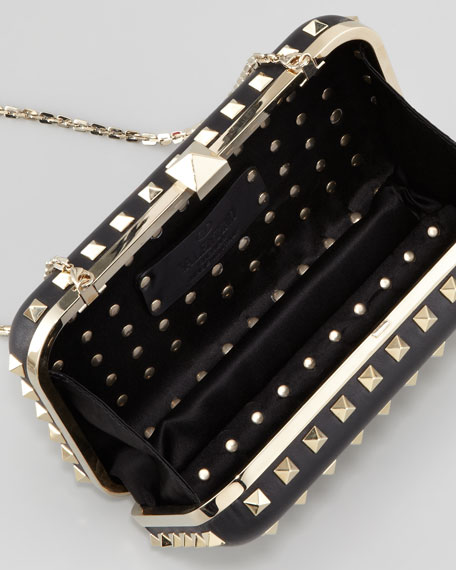 Rockstud Leather Minaudiere Clutch Bag, Black