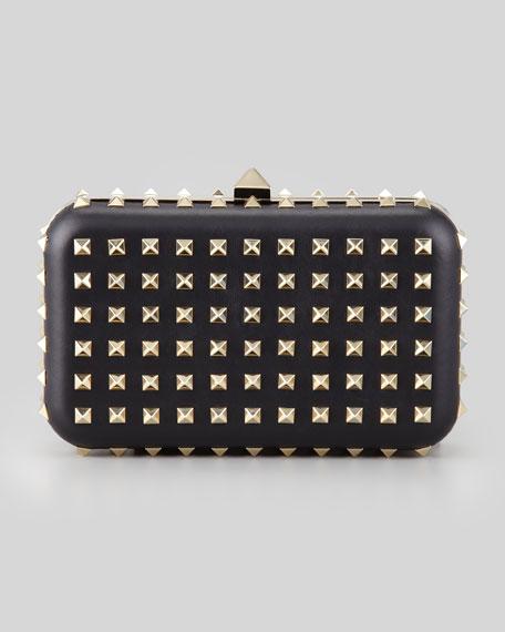 Rockstud Leather Minaudiere Clutch Bag, Black