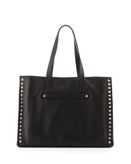 Valentino Rockstud Medium Shopping Tote Bag, Black
